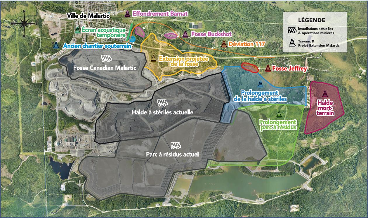 Carte de positionnement des installations existantes et des travaux en cours